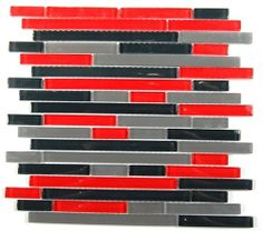 Tao Eruption Glass Tiles Black Red Gray Glass Tiles On A 12 X