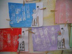 Malíř - nabarvená čtvrtka + nalepený malíř z části vystřižený Preschool Colors, Kindergarten, Education, Prints, Vans, Painting, Hilarious, Preschool, Kinder Garden