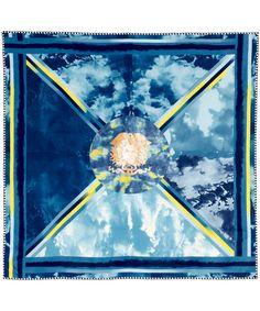 Versace, Blue Sky Print Silk Scarf, £190.00. #libertyscarves #silkscarves #versace