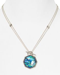 Judith Jack Sterling Silver Blue Abalone Marcasite Convertible Necklace, 17"