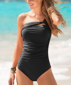 Look at this #zulilyfind! Black One-Shoulder One-Piece by Garotas #zulilyfinds