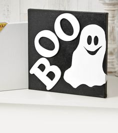 """12"""" Canvas with Ghost and """"BOO"""""""