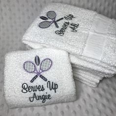 Love how this new set of team tennis towels turned out! The play on words with team name Serves (surfs) Up is super cute! Lavender and dark grey colors used...so pretty.