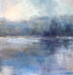 Reflecting on Blue: Abstract Landscape Series by christina dowdy Acrylic/oil ~ 30 x 30 Abstract Landscape Painting, Seascape Paintings, Abstract Oil, Landscape Art, Landscape Paintings, Landscape Photography, Sun Painting, Tree Paintings, Knife Painting