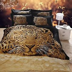 Amazon.com: Leopard Reactive 3D Print Bedding Sets 400-Thread-Count 4 Piece 100%…