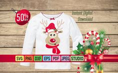 Christmas deer SVG, Funny Christmas deer SVG for Cricut Deer Svg Christmas T-Shirt Clipart Deer, Cartoon deer, Reindeer svg, Deer vector SVG by SuperDuperDIY on Etsy