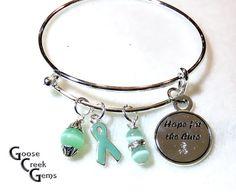 Custom Cancer Awareness Bangle Bracelet by GooseCreekGems on Etsy
