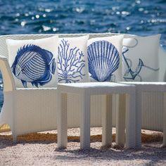 Blue Sea Print Indoor/Outdoor Decorative Throw Pillow | Overstock.com Shopping - Great Deals on Throw Pillows