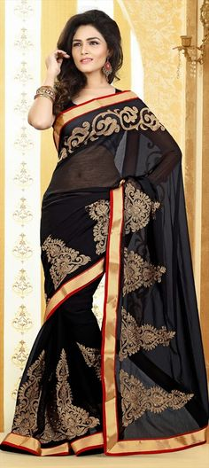 147076, Party Wear Sarees, Embroidered Sarees, Chiffon, Stone, Zari, Thread, Lace, Black and Grey Color Family