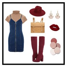 """""""DENIM & BROWN & WINE ☝"""" by diana-jevcakova on Polyvore featuring Topshop, Kenneth Cole and LunatiCK Cosmetic Labs"""
