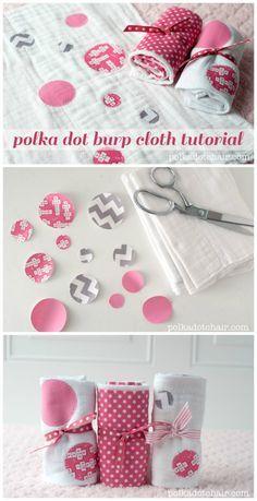 DIY Polka Dot Burp Cloths