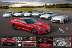 "2014 Red Chevrolet Corvette 42/"" x 24/"" LARGE WALL POSTER PRINT NEW."