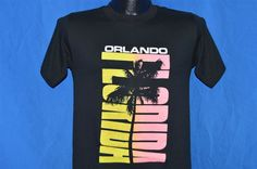 vintage 80s ORLANDO FLORIDA PALM TREE NEON PUFFY PAINT BLACK t-shirt SMALL S #RudmanSportswear #GraphicTee