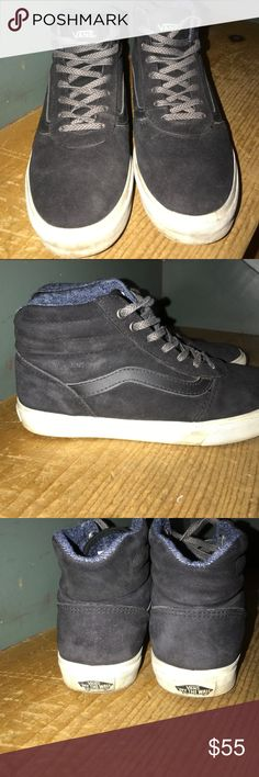 Black suede Vans high tops Women's size 8 Vans. These are all black suede with a leather van swish around them. EUC, worn maybe 3 times. Make an offer Vans Shoes
