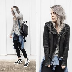 Nike Blazers, Madewell Jeans, Shopcamp Shirt, Anthropologie Bag, All Saints Leather