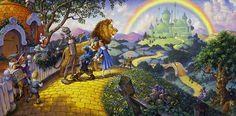 Scott Gustafson, such an incredible artist. Love this Wizard of Oz. So much detail! Face in the tree!