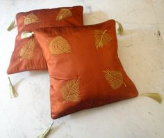 (SKU no: kmic 2019) 2 Elegant Hand Embroidered Floral Design Rust Brown Color Throws Pillow Cushion Covers With Fringes, Krishna Mart India