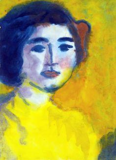 Emile Nolde WOMAN IN GOLDEN LIGHT 1930 40 watercolour on paper e des météores : Photo