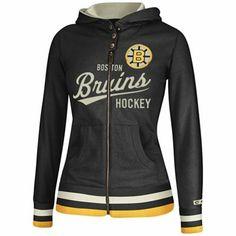 Reebok Boston Bruins Ladies CCM Full Zip Hoodie - Black
