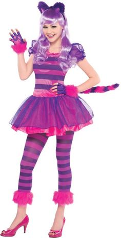 a2881b40166 Purple Cheshire Cat Costume features an eye-popping dress of purple and  magenta stripes with