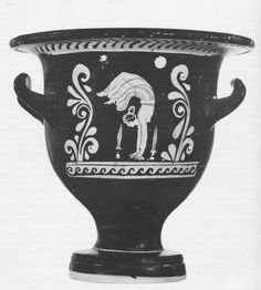 Apulian red figure bell-krater with acrobat between swords. Ht 23.2cm; attrib to Chevron Group, Archidamos Sub-Group. Peintre de Darius 199-201. Coll. F. C.-A.                   Special thanks to Prof. J.R. Green
