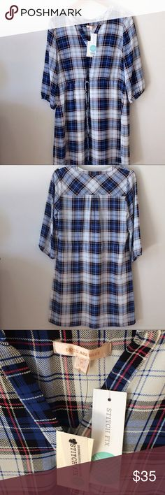 """NWT Stitch Fix Skies Are Blue Plaid Lynna Dress NWT Skies Are Blue Lynna Shirt Dress for Stitch Fix. Red, white, and blue plaid. Size Small. Armpit to Armpit: 19"""" Length: 36""""  Waist: 16"""" (with functional drawstring). Skies Are Blue Dresses"""