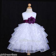 WHITE/PLUM DARK PURPLE ORGANZA WEDDING FLOWER GIRL DRESS 12M 18M 24M 2 4 6 8 10 in Clothing, Shoes & Accessories, Clothing, Shoes & Accessories | eBay