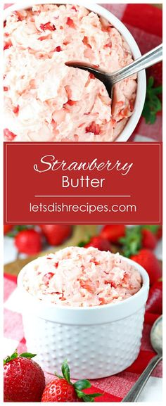 Strawberry Butter Recipe -- Sweetened butter is whipped with fresh strawberries to make this delicious spread for toast, muffins, pancakes and more! #strawberries #butter #recipes Easy Brunch Recipes, Appetizer Recipes, Breakfast Recipes, Dessert Recipes, Sweet Recipes, Fresh Strawberry Recipes, Recipes With Fresh Strawberries, Whipped Strawberry Butter, Whipped Butter