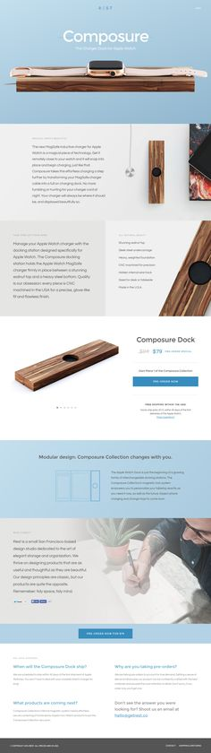 Gorgeous landing page promoting 'Composure' - a new charger dock for Apple Watch. Lovely effect separating the product parts as you start to scroll - a great reference to using Parallax Scrolling properly. The one pager features beautiful product images and also a pleasant soft blue and grey scheme.