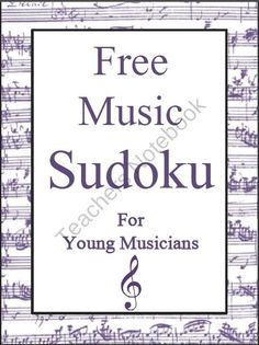 FREE Music Themed Sudoku Puzzle- could do my own with whatever symbols we're learning Piano Lessons, Music Lessons, Music Note Symbol, Sudoku Puzzles, Teacher Freebies, Music Classroom, Music Teachers, Classroom Ideas, Music Worksheets