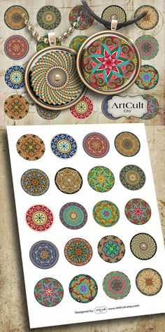 MOROCCAN ORNAMENT CIRCLES - Digital Collage Sheet 1 inch and 1.5 inch size Art Cult Printable images for pendants bottle caps and magnets