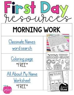 First Day Resource Round-Up - The Sassy Apple First Week Of School Ideas, Beginning Of The School Year, New School Year, School Fun, School Stuff, Beginning Kindergarten, School Starts, 3rd Grade Classroom, School Classroom