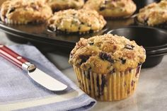 """These """"just"""" dairy-free blueberry muffins showcase wild blueberries, which are smaller than their """"domestic"""" cousins, and nutrient-dense. Nut-free, soy-free"""