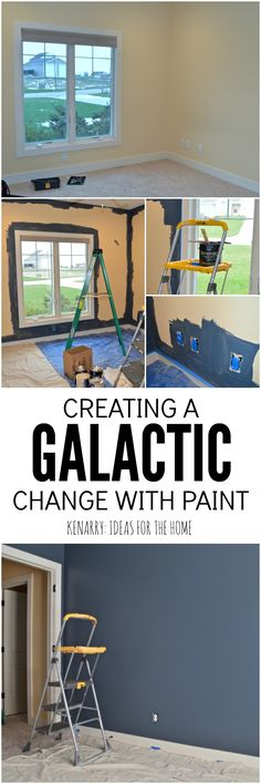 Creating an outer space boys bedroom starts with a huge galactic change in paint color. The walls were transformed from pale yellow with outerspace paint from @SherwinWilliams.