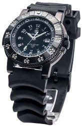 Smith & Wesson Men's SWW-357-R 357 Diver Swiss Tritium H3 Black Dial Rubber Band Watch