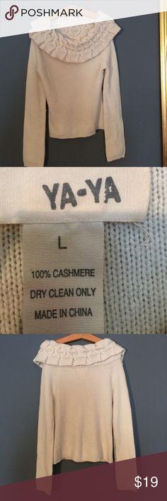 YA-YA 100% Cashmere sweater Size L soft & lovely YA-YA 100% Cashmere cream sweater Size L soft & lovely YA-YA Sweaters Cowl & Turtlenecks