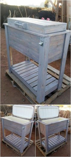 Okay! This wood pallet cooler stand creation will take away your heart beats, so be ready to hold your hearts out! This wood pallet cooler project is beautifully designed in several variations of the rustic wood pallet use in bold light color flavors. This is best to be used in summer season.