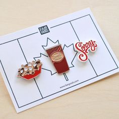 Canadians are known for many things including apologizing too much, Tim Hortons and poutine. Canadian pin set will be back in stock by mid-November. Pins also Happy Canada Day, Pins And Needles, Pin And Patches, Jacket Patches, Pin Art, All That Glitters, Lapel Pins, Pin Collection, Brooch Pin