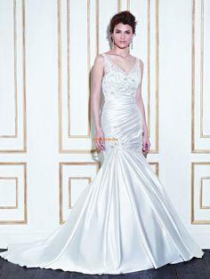 Vår Draperad Dragkedja Bröllopsklänningar 2014