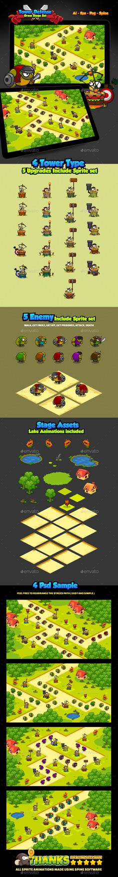 Tower Defense Grass Pack - Game Kits #Game Assets Download here: https://graphicriver.net/item/tower-defense-grass-pack/20321987?ref=alena994