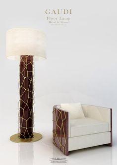 Gaudi Floor lamp - Wood And Bronze - Pont des Arts - Designer Monzer Hammoud -Paris - Geometric Furniture, Art Deco Furniture, Sofa Furniture, Unique Furniture, Luxury Furniture, Furniture Makeover, French Furniture, Wood Floor Lamp, White Floor Lamp