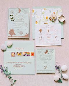 An Elegant, Intimate Wedding on Long Island | Martha Stewart Weddings - It was important to the bride to have stationery that was beautiful, unique, and set the tone for the event. The wedding invitations featured artwork from the bride's father, and illustrations that referenced specific wedding events. #weddingideas #weddinginvitations #weddings