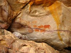 Cave painting of hunters and elephants - Cederberg, South Africa