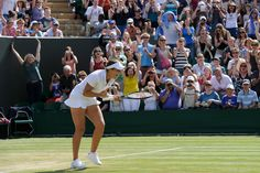 Laura Robson of Great Britain celebrates after defeating Marina Erakovic of New Zealand.