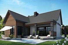 Contemporary Style House Plan - 2 Beds 1 Baths 1212 Sq/Ft Plan #23-2316 Exterior - Rear Elevation - Houseplans.com #dwell #design #modern #home #live #floorplan #residence #architecture #outdoorliving #contemporary