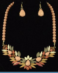 Art Deco Goldtone Necklace with Earrings Accented with Peach, Taupe, Coral, Brown & Ivory Beads $28 @ www.whimzaccessories.com