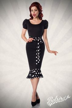 Belsira Jersey Dress with Puff Sleeves