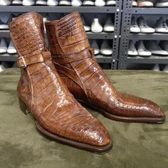 Brown Crocodile Print Senior Men'S Boots Ankle Boots Men, Buckle Boots, Men's Boots, Shoe Boots, Brogue Chelsea Boots, Leather Chukka Boots, Pu Leather, Slip On Boots, Dress With Boots