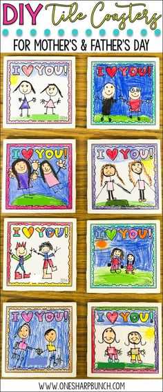 DIY tile coasters make the perfect Mother's Day gift or Father's Day gift from kids! Grab the FREE Mother's Day printable to begin making your Mother's Day craft! Also includes a Father's Day printable and generic printable perfect any other special person! via /onesharpbunch/