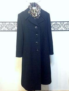 1950's Jet Black Lux Cashmere & Satin Peacoat by by RetrosaurusRex